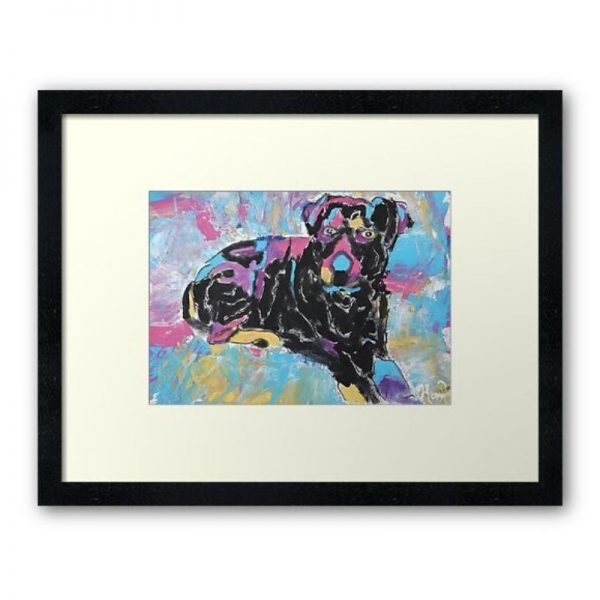 KerryT artwork for sale Kobe Rottweiler black frame