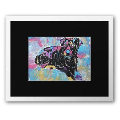 KerryT artwork for sale Kobe Rottweiler white frame