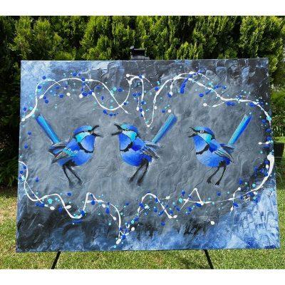 KerryT painting Blue Wren Harmonies