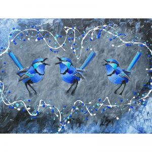 KerryT painting artwork Blue Wren Harmonies