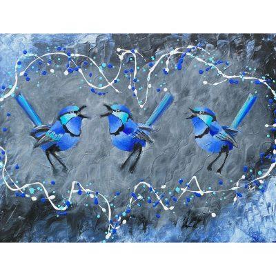 KerryT painting artwork Blue Wren Harmonies