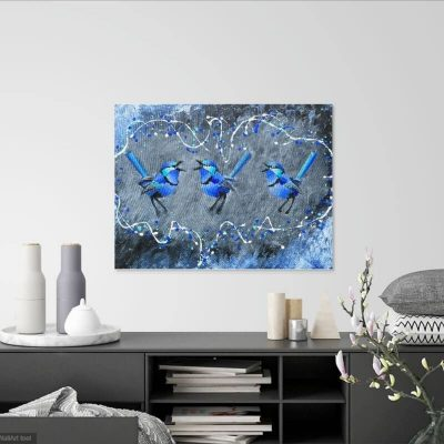 KerryT wall artwork Blue Wren Harmonies