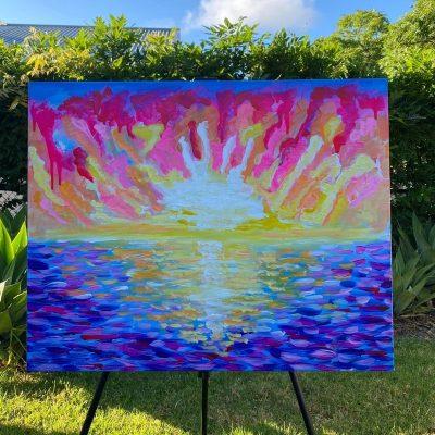 KerryT painting Australian Beach Sunset