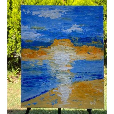 KerryT painting Glenelg Beach Sunset