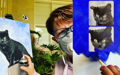 Painting Kalo the Margaret River winery black cat